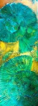 ammonites painting jade green gold texture striking art
