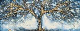Antique gold abstract tree art