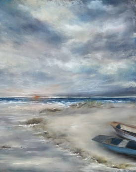 Pastel painting of an Indian beach at sunset