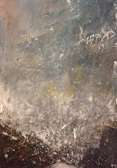 Acrylic abstract seascape waves rocks on board