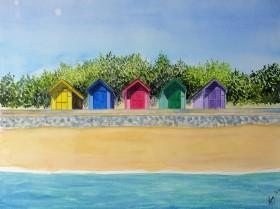 beach huts, lemon, blue, pink, green purple, beach, sea, coastal park, folkestone