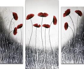 Black White Poppies Triptych