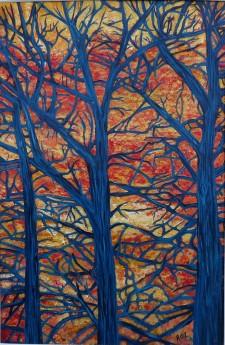 Orange Sky Blue Tree