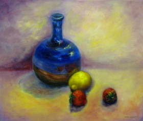 Blue Pot and strawberries