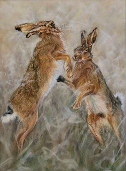 Boxing hares. Pastels.