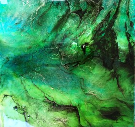 abstract striking painting on canvas glass green gold black
