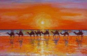 Camel Reflections at Sunset