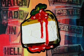 Cheese Cake Strawberry sauce with Mint POP-ART 0521