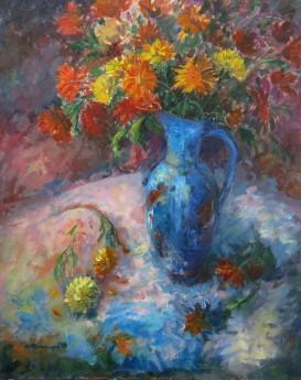 chrysanthemums in jug