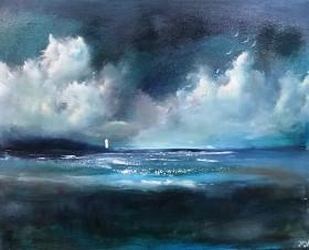 seascape sky clouds lighthouse impressionist  tide ocean sea landscape