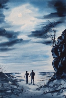 Original watercolour  by Ricky Figg - Coast in Moonlight - Evening walk on the beach in moonlight