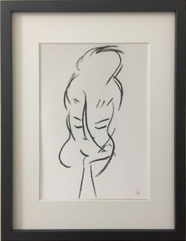 Confidant: original charcoal drawing of a female form done in a Matisse style.  The drawing is framed, ready for hanging.