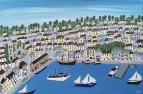 Contemporary Brixham boats painting