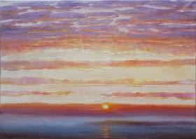 Evening Seascape Drowning Sun