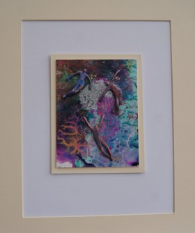 Small vibrant painting with sculptured figurines. Expressing joy, hope and companionship.