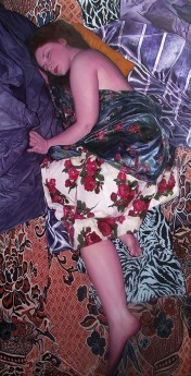 Rosa sleeping, oil on canvas painting