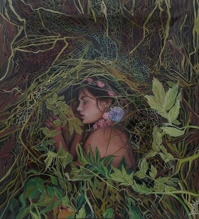 Ophelia lying in the forest, oil on canvas painting