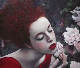 Perfume of white roses, oil on canvas painting