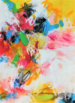 Expressive colourful happy abstract art on heavy paper, contemporary home decor eye-catching multi coloured painting