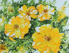 Yellow roses flower painting contemporary impressionist floral art yellow and green