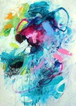 Lively expressive abstract original painting, blues pinks, greens, yellow contemporary mixed media art