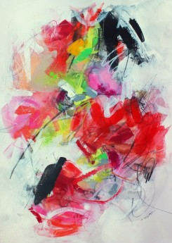 Bold expressive red pink black abstract painting original contemporary art expressive gestural