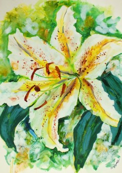 Oriental Lily White Lillies floral abstract expressive painting, contemporary flower art