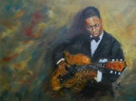 Jazz Guitarist on 52nd Street, Manhattan , New York