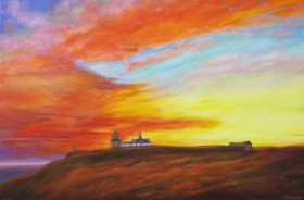 canvas oil painting of a sunset by Maureen Greenwood