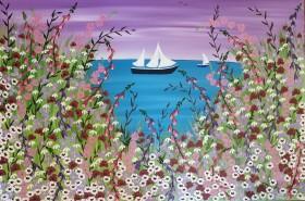 Contemporary sea flowers painting