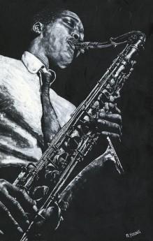 Fine art figurative male musician sax player oil painting