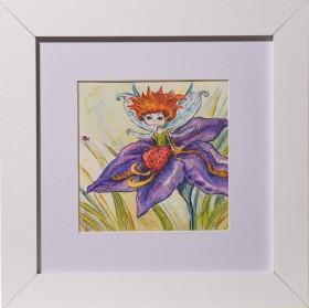 Fairy on Iris Flower, illustration, white frame, kids room art, children, strawberry fairy, purple iris flower, nursery art, baby shower gift