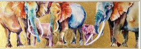 Family Bubble.  Contemporary wildlife watercolour painting of  endangered African elephants in a rich setting.