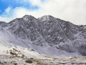 Lliwedd in winter. Part of the snowdon Horseshoe in Snowdonia, north Wales