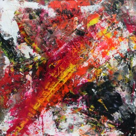 Large multi coloured red and yellow painting