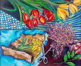 FLOWER ARRANGING FLAT LAY painting for sale