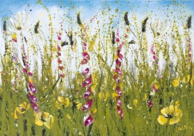Colourful foxgloves painting