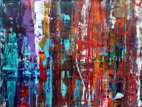 Large abstract multi coloured painting