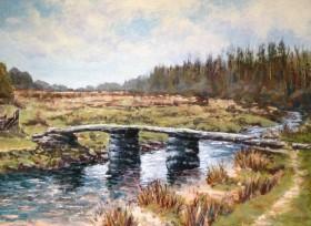 Postbridge Dartmoor oil painting by David Mather