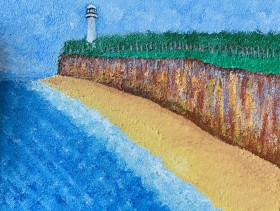 Lighthouse on Cliff and sea
