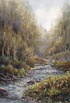 River Walkham Dartmoor watercolour by David Mather