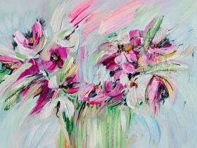 Impressionistic flowers Floral art Bold colours