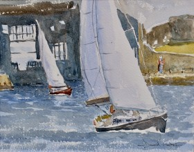 Sailing off King Billie watercolour by David Mather