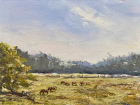 Grazing on Dartmoor oil painting by David Mather
