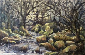 Small stream on Dartmoor watercolour by David Mather