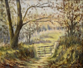 Five bar gate oil painting by David Mather