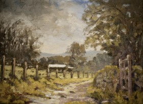 Farmyard track oil painting by David Mather
