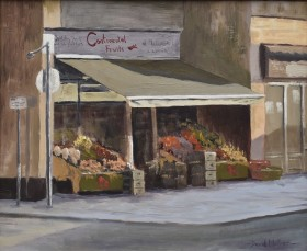 Continental store Tavistock, oil painting by David Mather