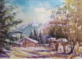 Near Mont Blanc watercolour by David Mather