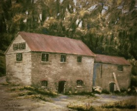 Pentillie Sawmill  impressionist oil painting by David Mather